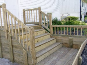 The new steps, done except for a coat of sealer. Pretty fancy.
