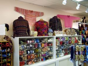 This is a photo of some of their samples and yarn.